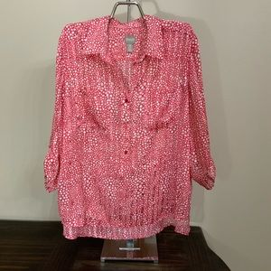 Chico's 3 blouse 3/4 sleeves high and low size XL